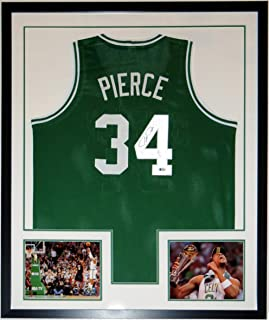 Paul Pierce Authentic Signed Boston Celtics Jersey - Beckett Authentication Services BAS COA - Custom Framed & 2 8x10 Finals Photo 34x42