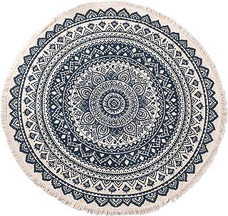 Round Carpet Nordic Linen Cotton Handmade Tassel Round Mat Bohemian Carpet Yoga Mat for Sofa Living Room Bedroom Bathroom ...