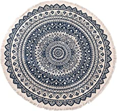 Round Carpet Nordic Linen Cotton Handmade Tassel Round Mat Bohemian Carpet Yoga Mat for Sofa Living Room Bedroom Bathroom ...