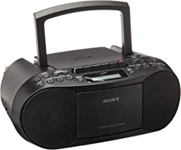 Sony CFDS70-BLK CD/MP3 Cassette Boombox Home Audio Radio, Black, with Aux Cable (Renewed)