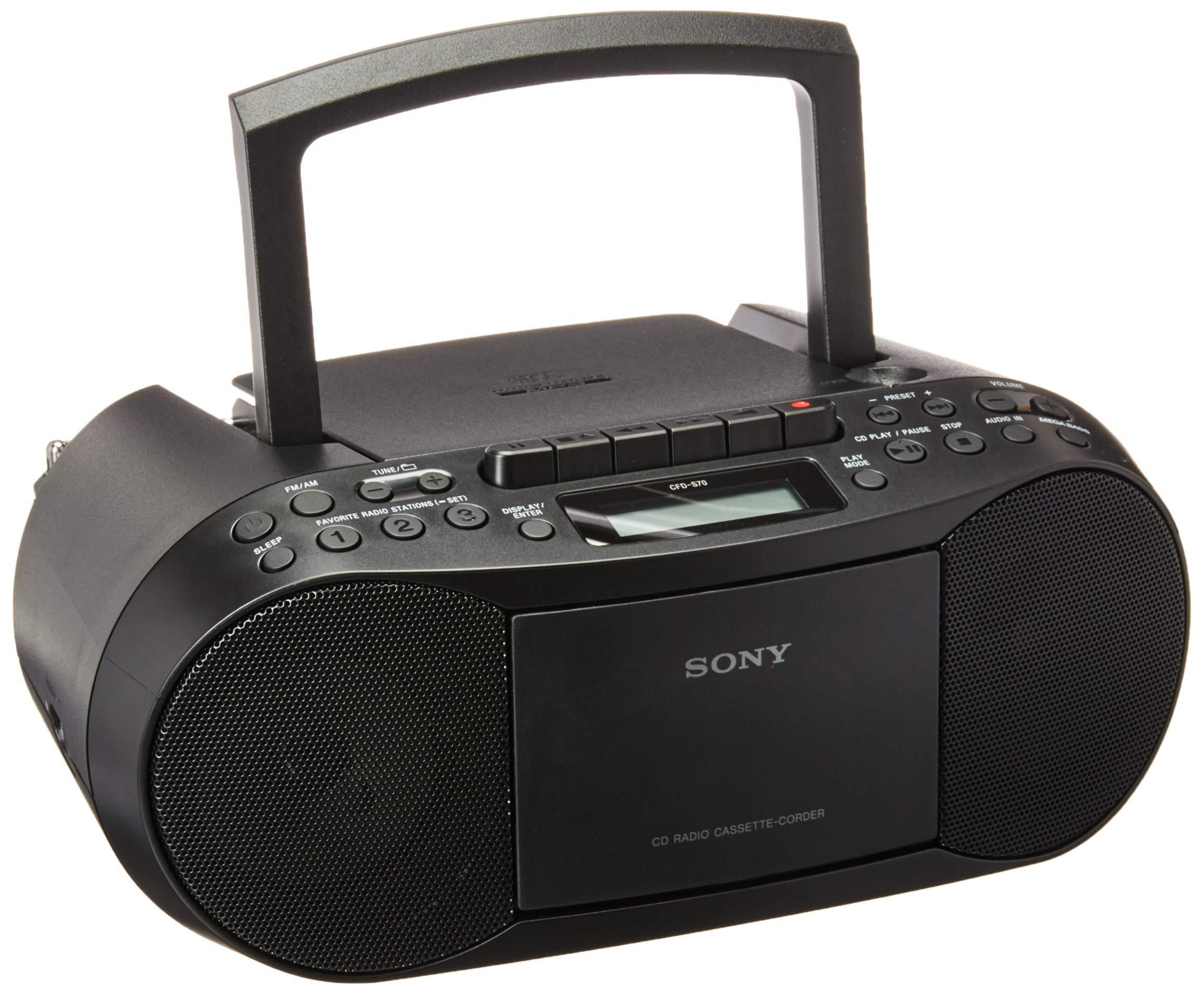Sony CFDS70 BLK Cassette Boombox Renewed