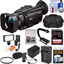 Sony Handycam FDR-AX700 4K HD Video Camera Camcorder with 64GB Card + Battery & Charger + Case + LED Light + Microphone + Stabilizer + Filter + Kit