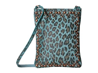 Leatherock Yvette Cell Pouch (Turquoise Leopard) Cross Body Handbags