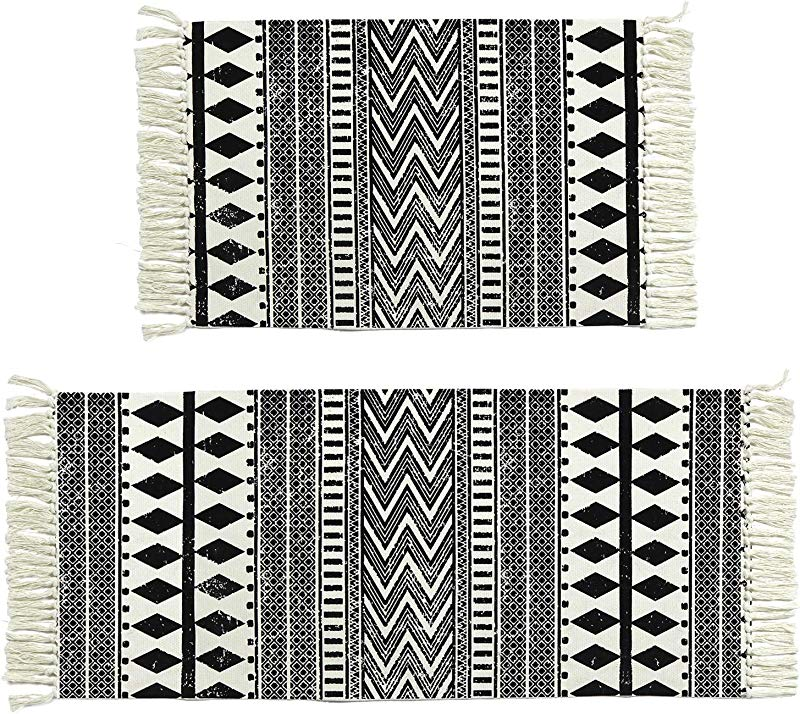 Cotton Area Rug Set 2 Piece 2 X3 2 X4 3 KIMODE Woven Fringe Throw Rugs Print Tassel Geometric Welcome Door Mat Machine Washable Floor Runner Rug For Porch Kitchen Bathroom Laundry Living Room