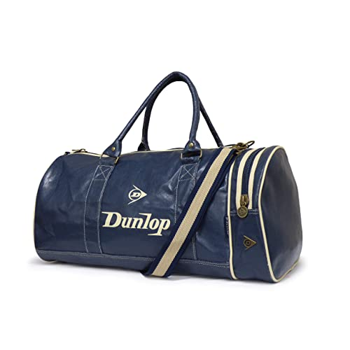 077c8893954e Back to School Dunlop Navy Blue Retro Distressed leather look Holdall Shoulder  Gym bag with Ecru