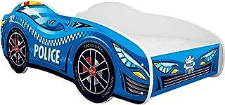 Topbeds Lit 1 place pour enfant en forme de voiture, avec matelas. POLIZIA