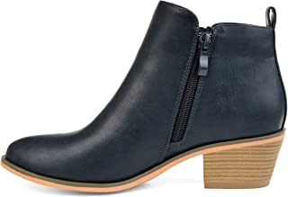 Womens Faux Leather Stacked Heel Side Zip Booties