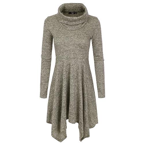 NINEXIS Womens Cowl Neck Long Sleeve Flowy Sweater Dress e73ff4f24