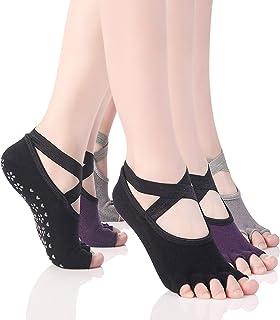 Calcetines Pilates Yoga Antideslizantes Traspirable Mujer para Barra Ballet Danza,3 Par,talla EU 35-40(Negro/Gris/Púrpura)