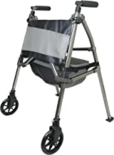 Signature Life Elite Travel Rolling Walker for Seniors, Narrow Front Wheel Walker with Organizer Pouch and Basket