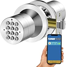 TurboLock TL-99 Bluetooth Smart Lock for Keyless Entry & Live Monitoring – Send & Delete eKeys w/App on Demand (Silver)