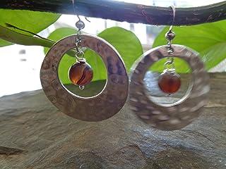 ANELLO MARTELLATO & ACHAT MARRONE grandi orecchini ad anello