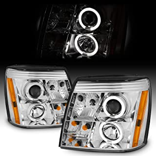 [Factory HID Type] For 2003-2006 Cadillac Escalade ESV EXT Chrome Clear Halo DRL Daylight LED Strip Projector Headlights