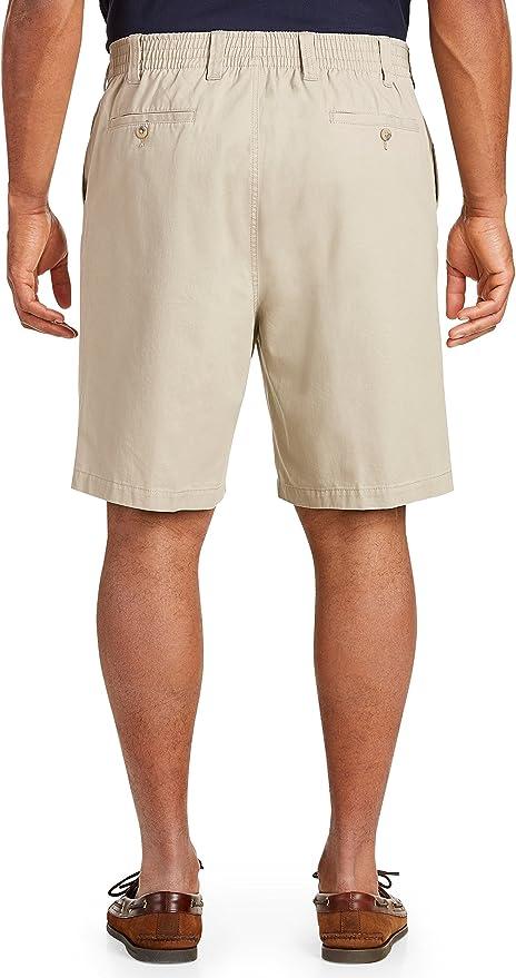 3X-Tall Harbor Bay by DXL Big and Tall Elastic-Waist Twill Shorts-Updated Fit Black