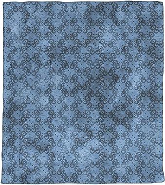 ArtVerse Katelyn Elizabeth Snakes Pattern Microfiber Comforter - Twin XL Size, 68 x 92, Blue
