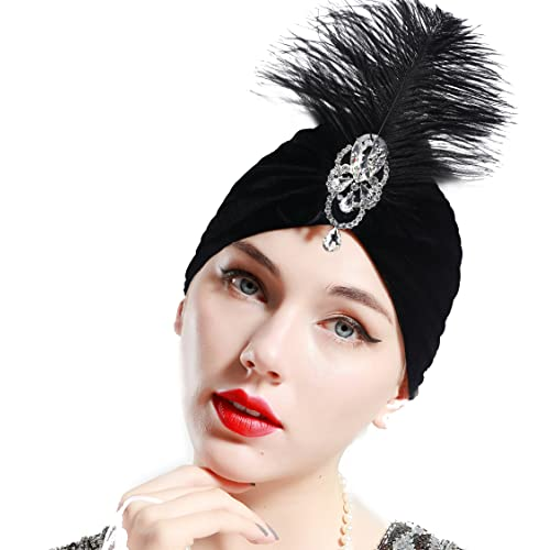 7d0397244dab1 BABEYOND Gatsby Turban Hat Vintage 1920s Head Wrap Knit Pleated Turban 20s  Cap