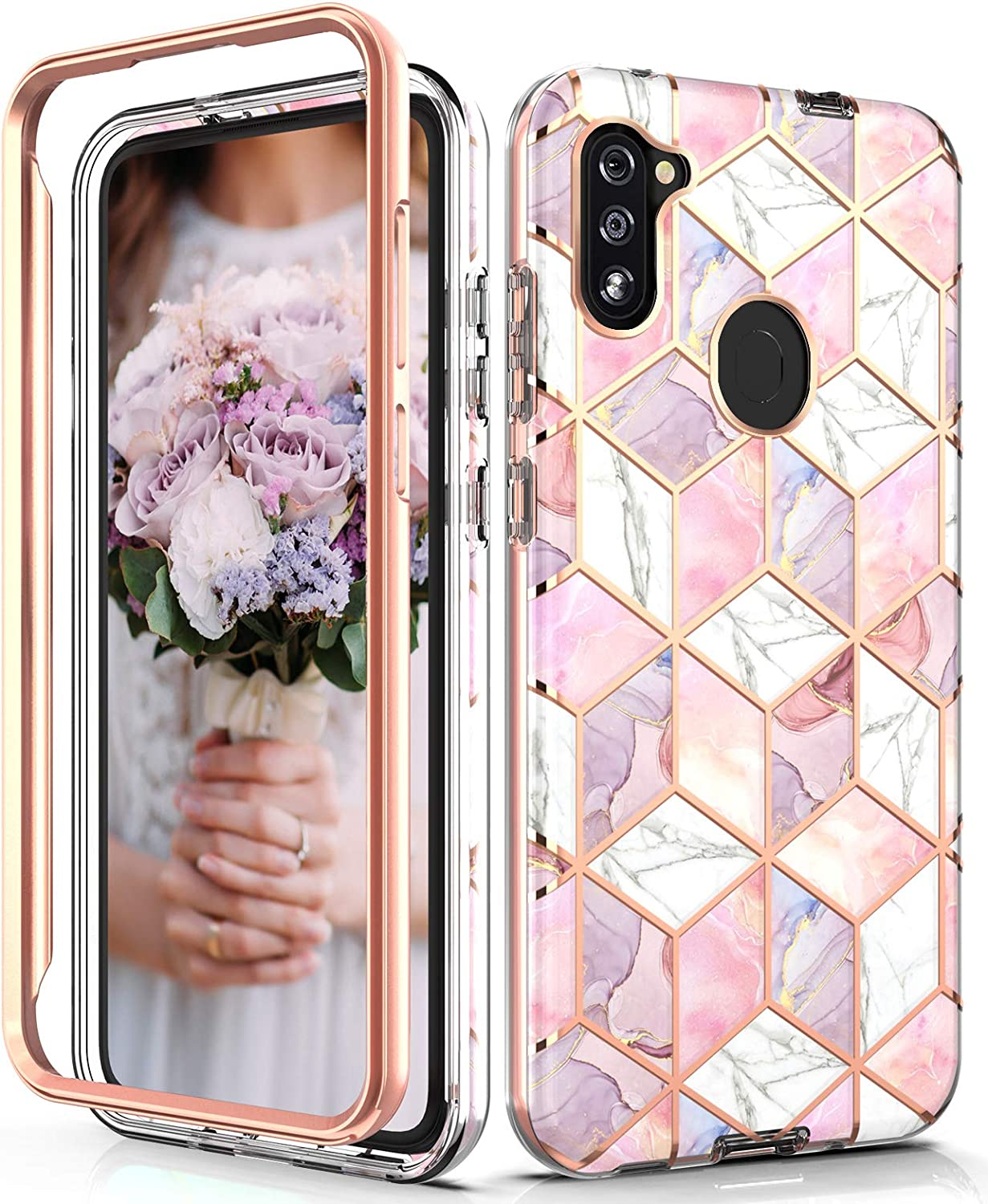 Hasaky Case for Samsung Galaxy A11 Case,Dual Layer Hybrid Bumper Clear Cute Girls Rose Gold Marble Design Soft TPU+Hard Back Heavy Duty Anti-Scratch Shockproof Protective Phone Case - Pink/Rose Gold.