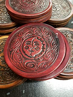 Leather Embossed Hand Tooled Patch/Badge/Coaster-4 Piece Set