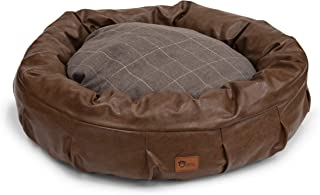 Superior Pet Goods Harley Faux Leather and Check Dog Bed, Chocolate, Medium