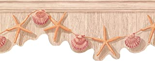 Wallpaper Border Orange Starfish Purple Seashell 9.5