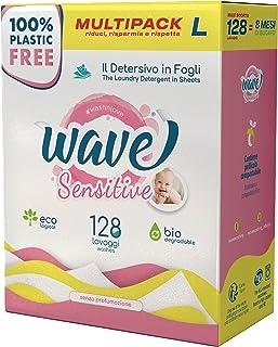 Wave Washing Sensitive – El Detergente en Hojas – 100% LIBRE DE PLÁSTICO – Multipack L - 128 lavados – Ecológico – Biodegr...