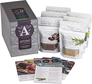 SaltWorks Gourmet Salt Gift Set, Featuring All-Natural Infused Black Truffle, Espresso Brava, Lime Fresco, Spanish Rosemary, Vintage Merlot, & Wild Porcini, Zip-Top Pouches (Box Of 6), 36.8 Oz