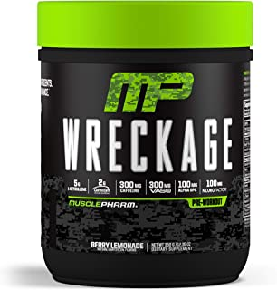 MusclePharm Wreckage Pre-Workout Powder with Superior Focus, Extreme Energy and Sustained Pump - Nitric Oxide, Beta Alanine, and Caffeine, Berry Lemonade, 25 Servings