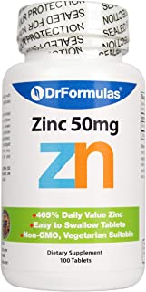DrFormulas Zinc Supplement 50mg for Acne and Chelated Zinc Oxide Citrate, 100 Day Supply (Tablets Not Lozenges, Gluconate, or Picolinate)