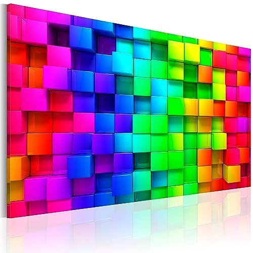 murando - Bilder 120x80 cm Vlies Leinwandbild 1 TLG Kunstdruck modern Wandbilder XXL Wanddekoration Design Wand Bild - Bunte Quadrate Würfel 3D a-B-0004-b-a