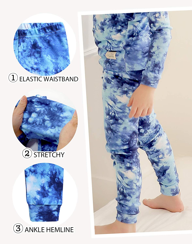 VAENAIT BABY 12M-12 Toddler Kids Boys Girls 100% Cotton Marbling Sung Fit Sleepwear Pajamas 2pcs Pjs Set