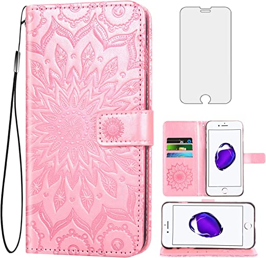حافظة هاتف لآيفون 7/8/SE 2020 مع واقي شاشة من الزجاج الصلب غطاء قلاب حامل بطاقات هاتف آيفون 7 آيفون 8 آي فون 7case Phone 8case فنجا8 7s 8s iPhoneSE SE2020 SE2 2 روز جولد