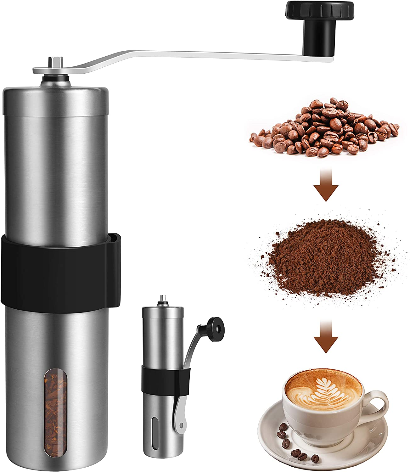 FONNOR Manual Coffee Grinder - Long Beach Mall Mill Steel Hand Max 50% OFF Stainless