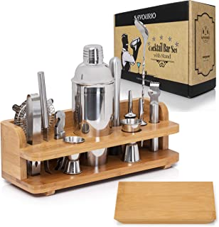 Savourio Bartender Kit Cocktail Shaker Bar Set – Complete 15-Piece Premium Quality Stainless Steel Utensils – Sleek & Elegant Design – Practical Wood Stand Included, martini, monogram