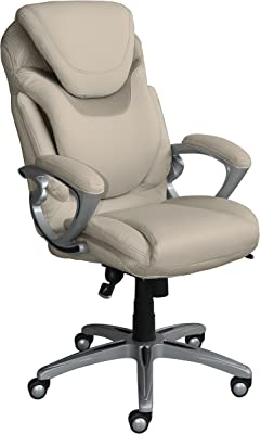 Serta AIR Health and Wellness Executive Office Chair, High Back Big and Tall Ergonomic for Lumber Support Task Swivel, Bonded Leather, Comfortable Cream