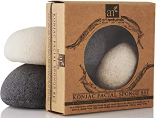 ArtNaturals Konjac Facial Sponge Set - 2 Pack (Charcoal Black & Natural White) - 100% Natural Great for Sensitive, Oily & Acne Prone Skin - Beauty Facial Scrub for Gentle Deep Cleaning & Exfoliation