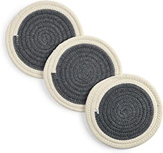 Pot Holders Set Trivets Kitchen Hot Pads Potholders Pure Cotton Thread Weave Hot Mats Set of 3 Spoon Rest Jar Opener Cotton Coasters For Cooking and Baking by Diameter 7 Inches (Dark Gray)