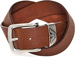 Armani Men's Tumbled Leather Belt Brown
