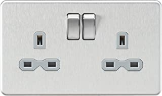 Knightsbridge SFR9000BCG Screwless 2G Dp Switched Socket, Silver