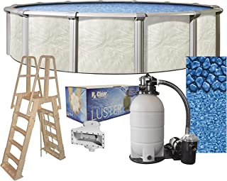 Fallston 24-Foot-by-52-Inch Round Above-Ground Swimming Pool Complete Bundle Kit | Boulder Swirl Pattern Overlap Liner | A-Frame Ladder System | Filter Tank | 1 HP Pump | Wide-Mouth Skimmer