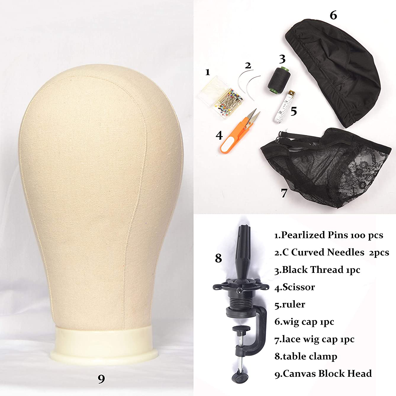 Canvas Block Head DIY Wig Making Starter Kit Wig T Pins and C Curved Needles (22 inch Canvas Block)