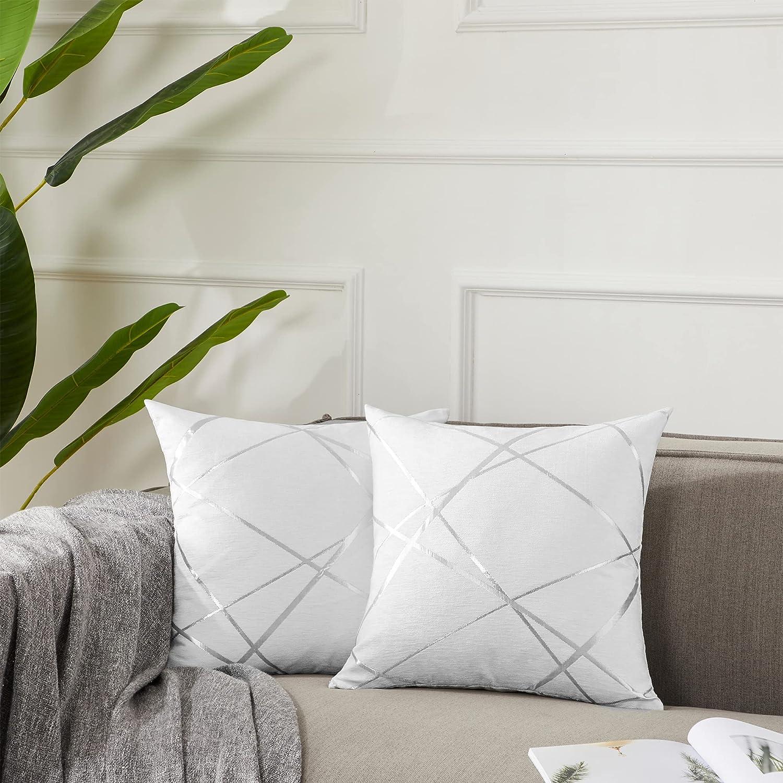 GIGIZAZA Decorative Max 56% OFF Throw Pillow Covers Dallas Mall Thick Sofa White 16 x