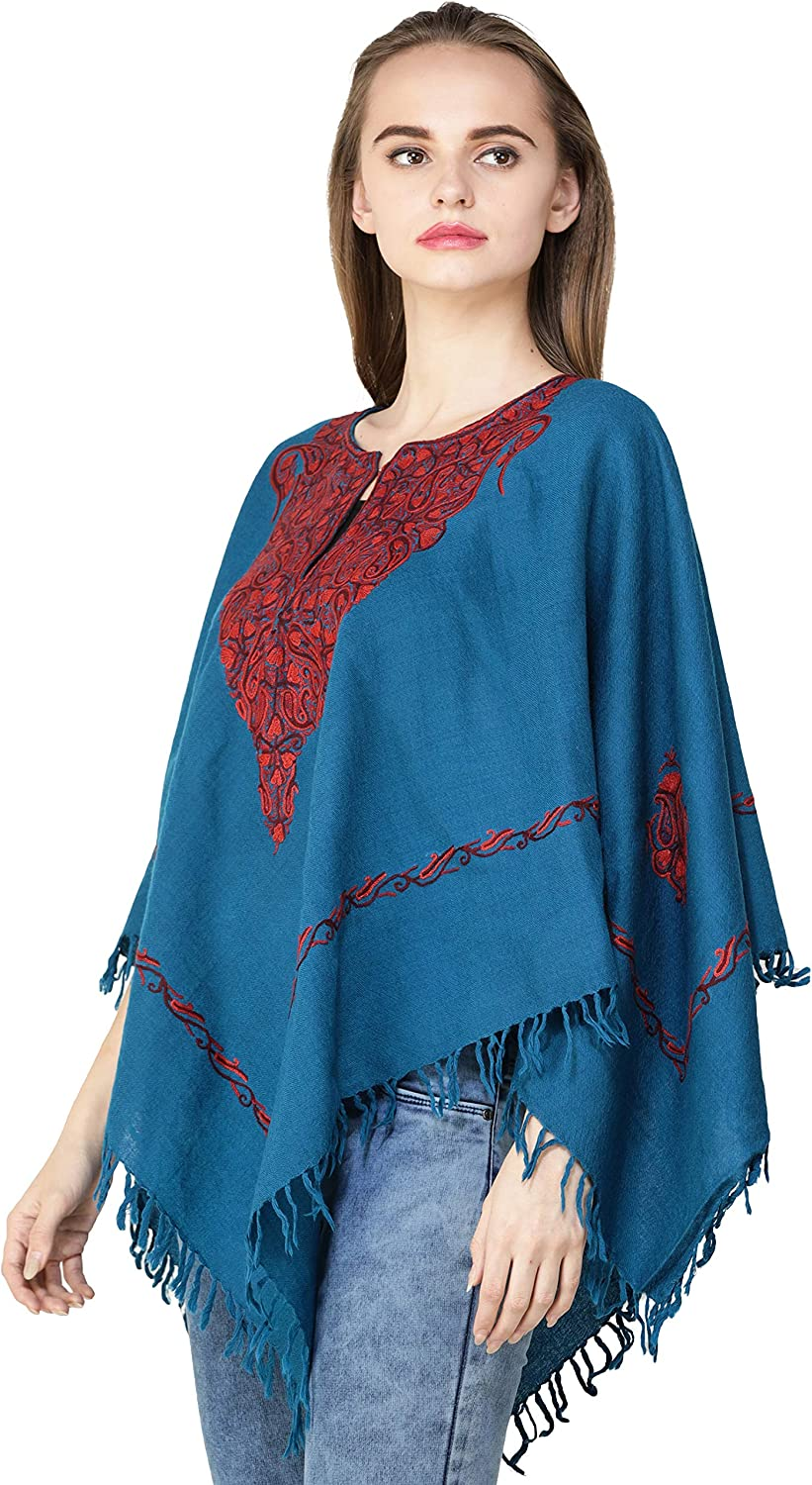 Exotic India Poncho from Kashmir with Ari Hand-Embroidered Paisleys on Neck