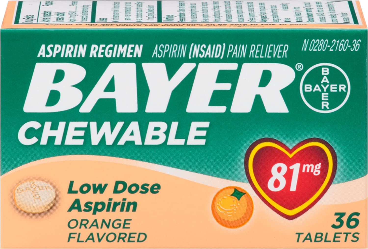 Aspirin Regimen Bayer 81mg Chewable Pain Ora Reliever Easy-to-use Tablets shop