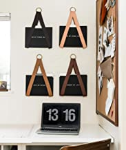 Leather Hanging File Holder - file storage organizer wall hung magazine rack file holder for wall organization office decor storage strap mail wall mount, vinyl record, media storage