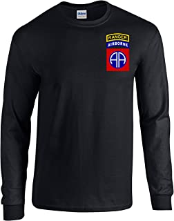 82nd Airborne Ranger Army Paratrooper Black Long Sleeve Shirt USA