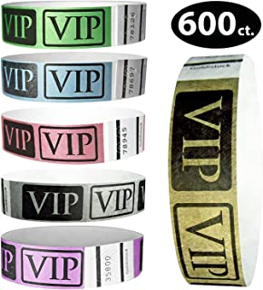 "Tyvek Wristbands - Goldistock Deluxe VIP Metallic 600 Ct. Variety Pack - ¾"" Arm Bands – 50 Each: Gold, Silver, Blue, Green, Red, Purple Paper-Like Party Armbands - Wrist Bands for Superior Events"