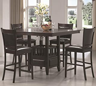 Coaster Home Furnishings Jaden 5-Piece Square Counter Table Dining Set Espresso and Black