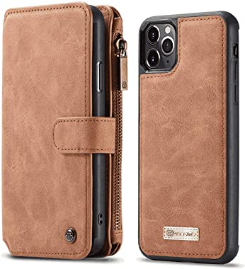 OOALUCK Leather Cover Compatible with iPhone Xs, Detachable Brown Wallet Case for iPhone Xs