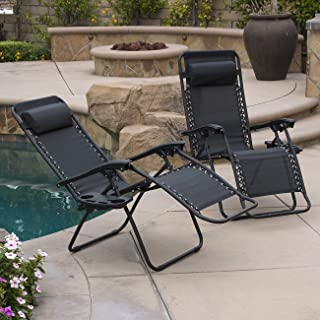 Belleze Set of (2PC) Zero Gravity Chair Lounge Chairs Pillow UV Recliner Chairs w/Cup Holder Tray, Black