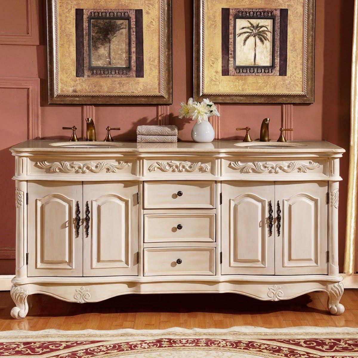 Buy Silkroad Exclusive Countertop Marble Stone Double Sink Bathroom Vanity With Cabinet 72 Cream Online In Kazakhstan B00w0yz2fw